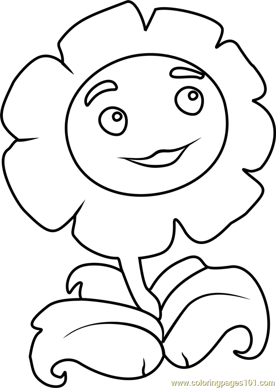 Giant Marigold Coloring Page Free Plants Vs Zombies