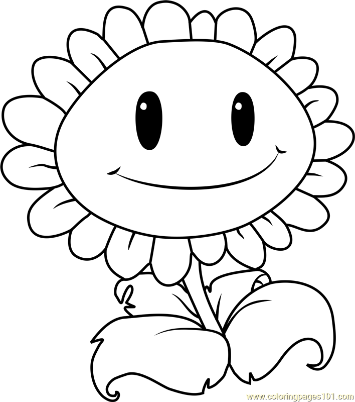 Giant Sunflower Coloring Page Free Plants vs Zombies