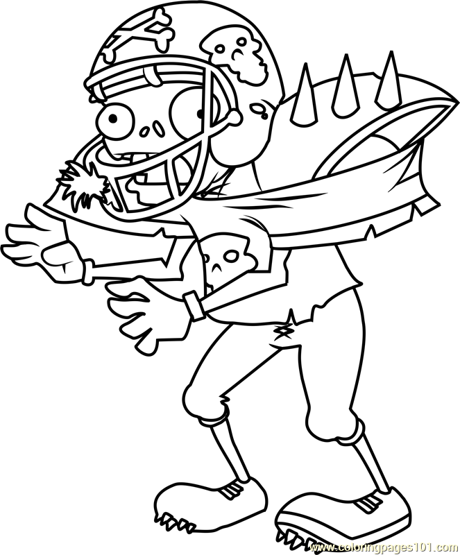 Giga-Football Zombie Coloring Page - Free Plants vs ...