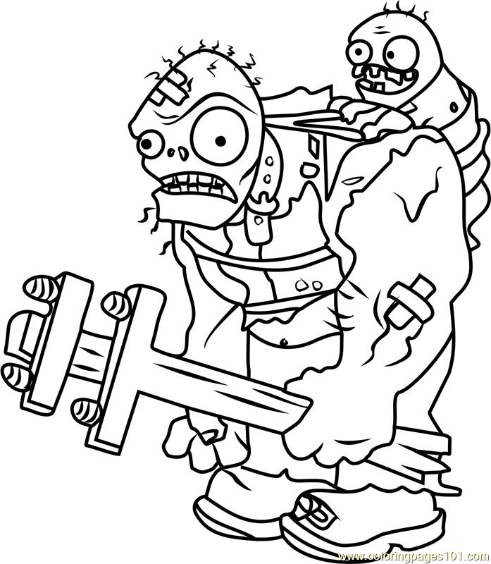 Giga Gargantuar Coloring Page Free Plants Vs Zombies