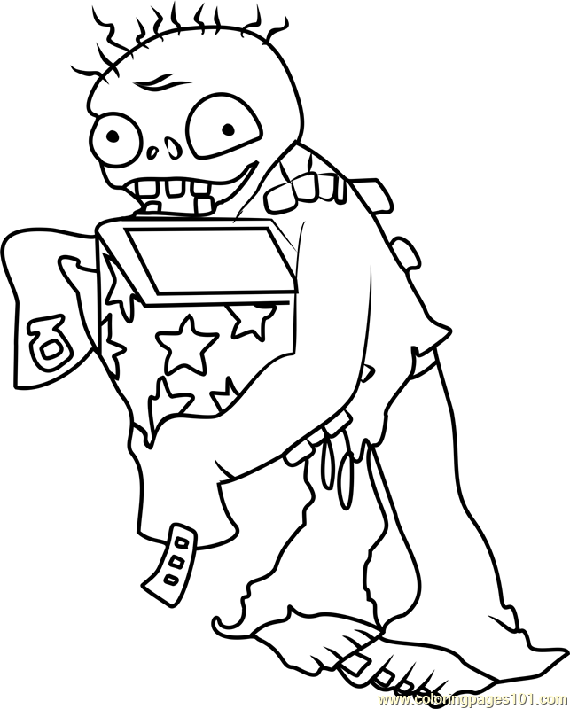 Jack-in-the-Box Zombie Coloring Page For Kids - Free Plants Vs. Zombies  Printable Coloring Pages Online For Kids - ColoringPages101.com Coloring  Pages For Kids