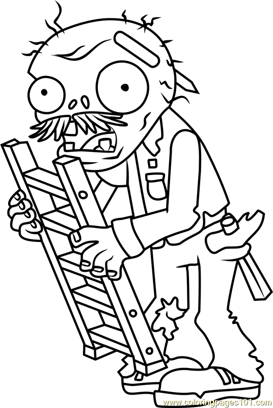 ladder zombie coloring page for kids - free plants vs