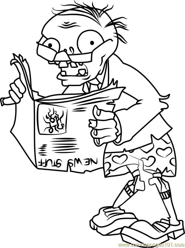 Newspaper Zombie Coloring Page Free Plants vs Zombies Coloring