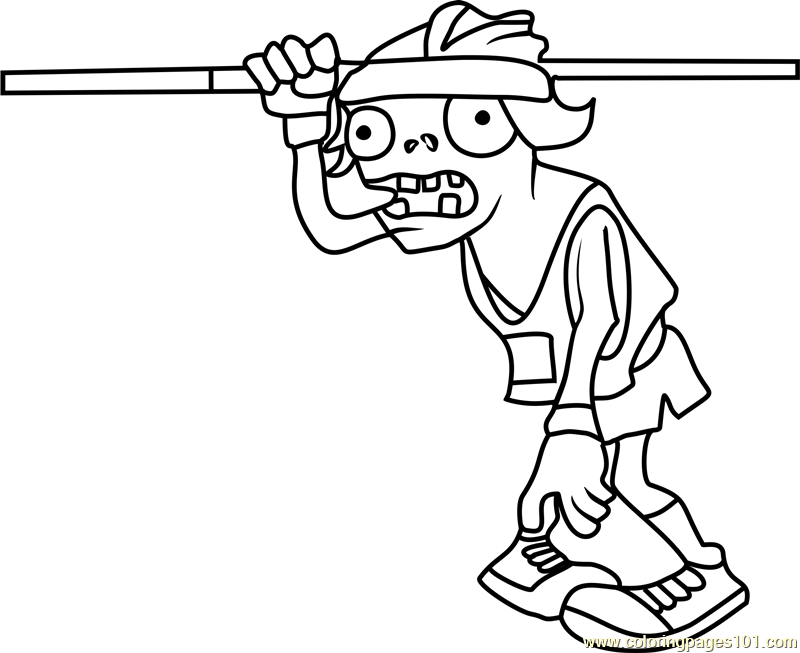 plants vs zombies coloring pages games - pole vaulting zombie coloring page free plants vs