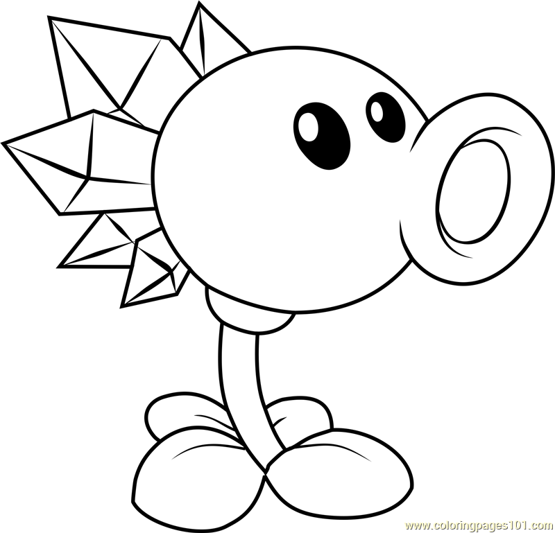 Snow Pea Coloring Page Free Plants vs Zombies Coloring