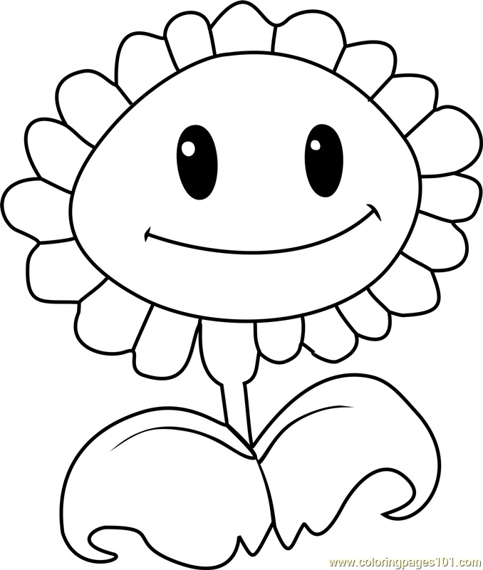 Sunflower Coloring Page Free Plants vs Zombies Coloring