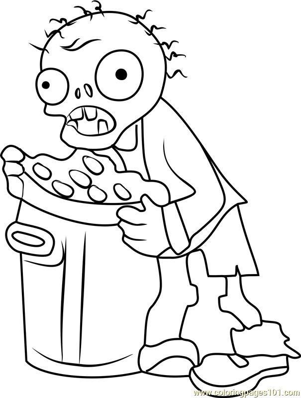 Trash Can Zombie Coloring Page