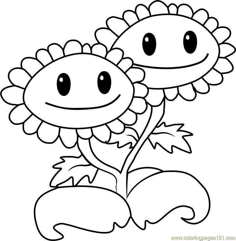 Twin Sunflower Coloring Page Free Plants vs Zombies