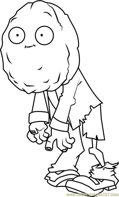 Wall nut zombie coloring page free plants vs zombies for Pvz coloring pages