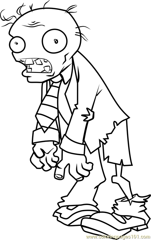 Zombie Coloring Page Free Plants