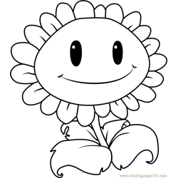 Giant Sunflower Free Coloring Page for Kids