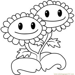 Twin Sunflower Free Coloring Page for Kids