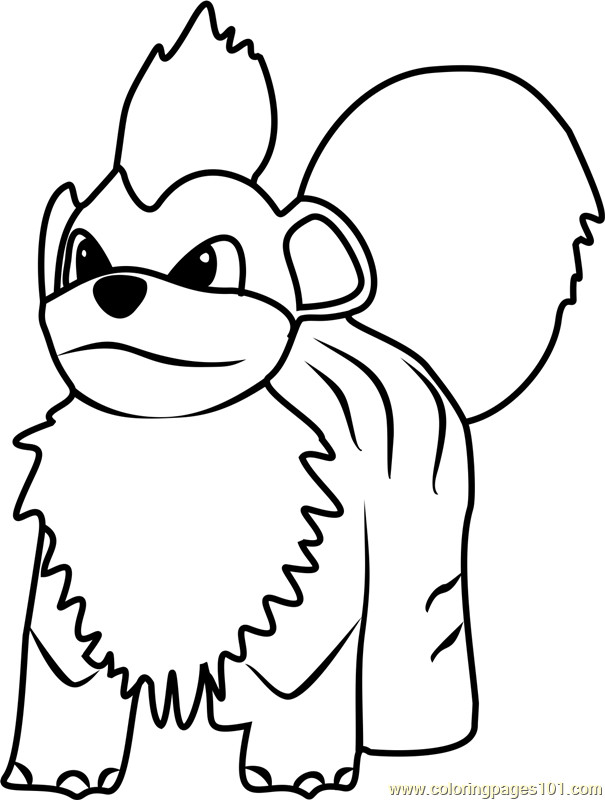 It is a photo of Lively Growlithe Coloring Page
