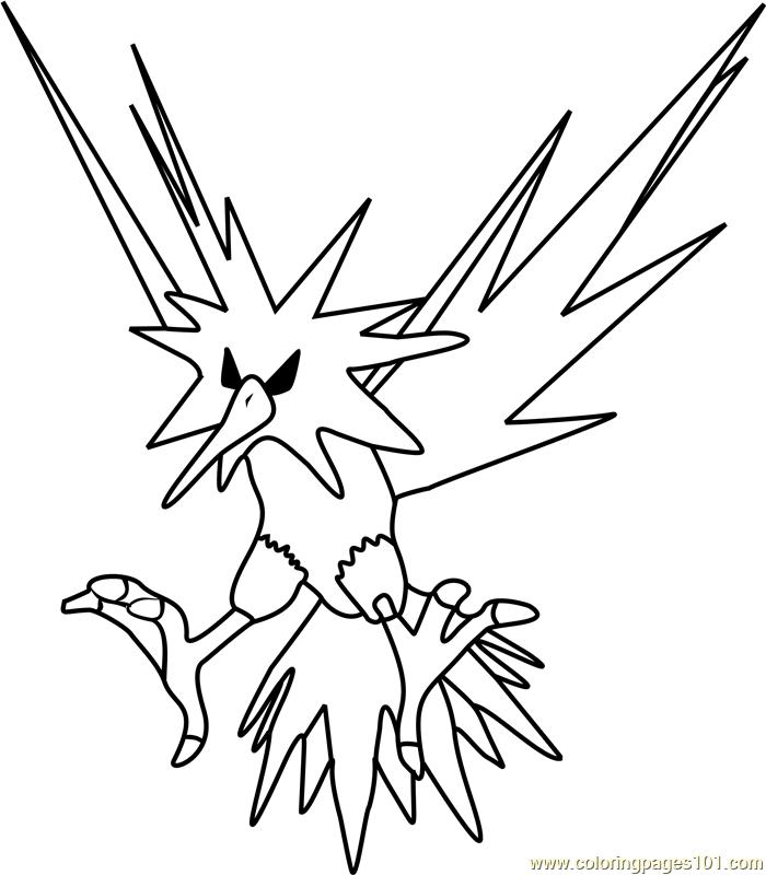 Zapdos Pokemon Go Coloring Page Free Pok 233 Mon Go Coloring
