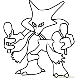 Alakazam Pokemon GO Free Coloring Page for Kids