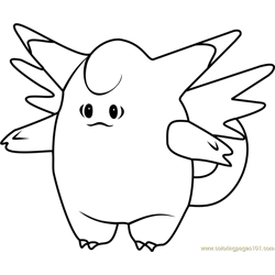 Clefable Pokemon GO Free Coloring Page for Kids
