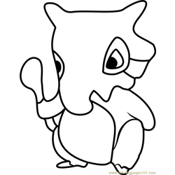 Cubone Pokemon GO Free Coloring Page for Kids
