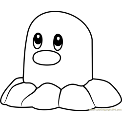 Diglett Pokemon GO Free Coloring Page for Kids