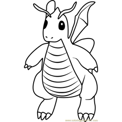 Dragonite Pokemon GO Free Coloring Page for Kids