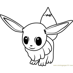 Eevee Pokemon GO Free Coloring Page for Kids