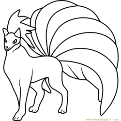 Ninetales Pokemon GO Free Coloring Page for Kids