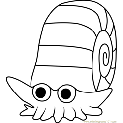 Omanyte Pokemon GO Free Coloring Page for Kids