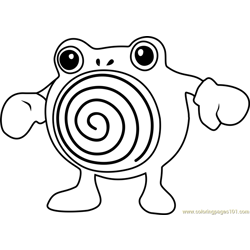 Poliwhirl Pokemon GO Free Coloring Page for Kids