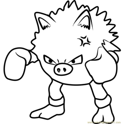 Primeape Pokemon GO Free Coloring Page for Kids