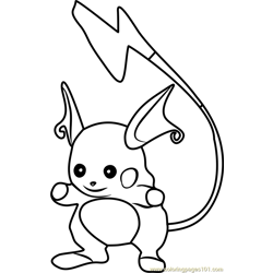 Raichu Pokemon GO Free Coloring Page for Kids