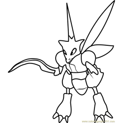 Scyther Pokemon GO Free Coloring Page for Kids