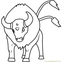Tauros Pokemon GO Free Coloring Page for Kids