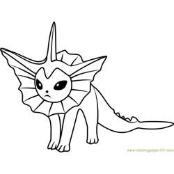 Vaporeon Pokemon GO Free Coloring Page for Kids