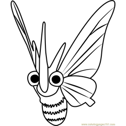 Venomoth Pokemon GO Free Coloring Page for Kids