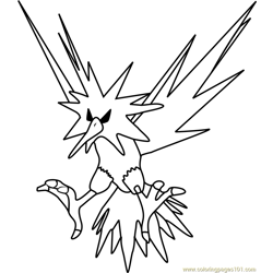 Zapdos Pokemon GO Free Coloring Page for Kids