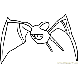 Zubat Pokemon GO Free Coloring Page for Kids