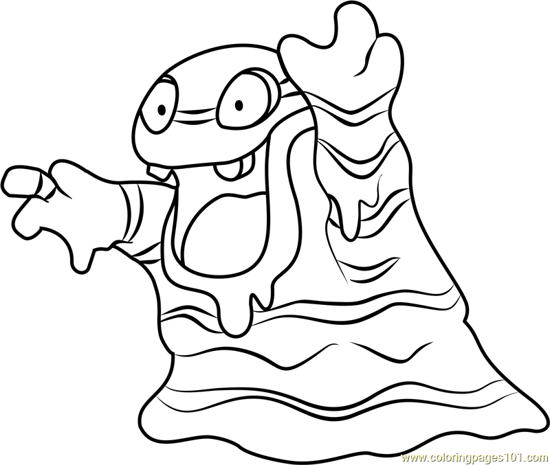 Alola Grimer Pokemon Sun and Moon Coloring Page Free