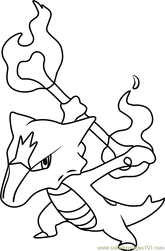 alolan marowak coloring pages | Alola Marowak Pokemon Sun and Moon Coloring Page - Free ...