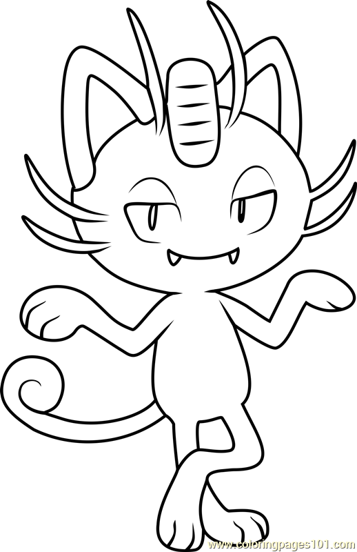 Alola Meowth Pokemon Sun and Moon Coloring Page