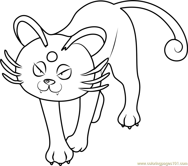 Alola Persian Pokemon Sun and Moon Coloring Page Free