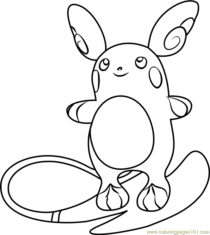 Alola Raichu Pokemon Sun And Moon Coloring Page Free