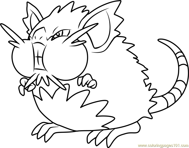 Alola raticate pokemon sun and moon coloring page