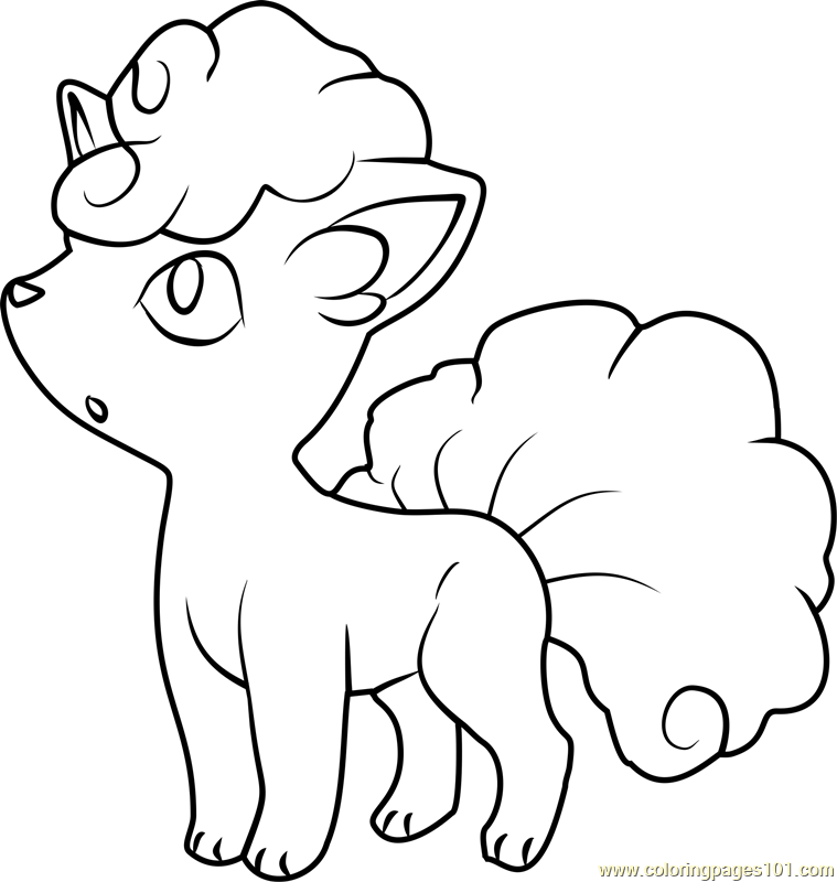 Alola Vulpix Pokemon Sun and Moon Coloring Page