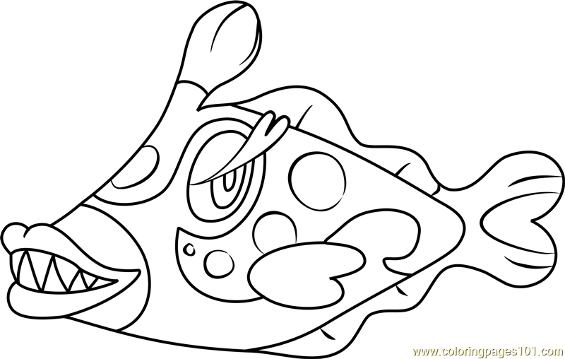 Bruxish Pokemon Sun and Moon Coloring Page