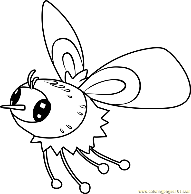 Cutiefly Pokemon Sun and Moon Coloring Page Free Pokmon Sun and