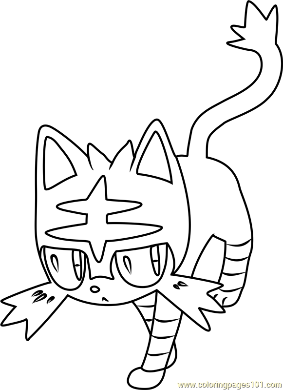 Litten Pokemon Sun And Moon Coloring Page