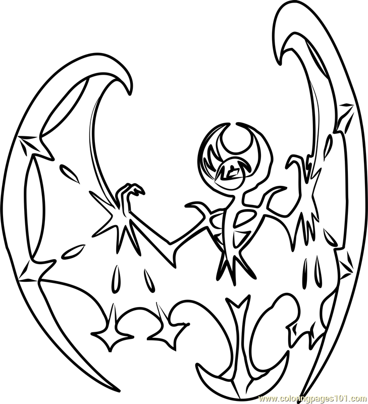 lunala pokemon sun and moon coloring page