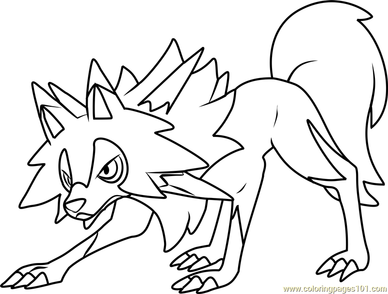 lycanroc midday form pokemon sun and moon printable coloring page for kids and adults