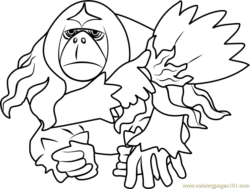 Oranguru Pokemon Sun and Moon Coloring Page