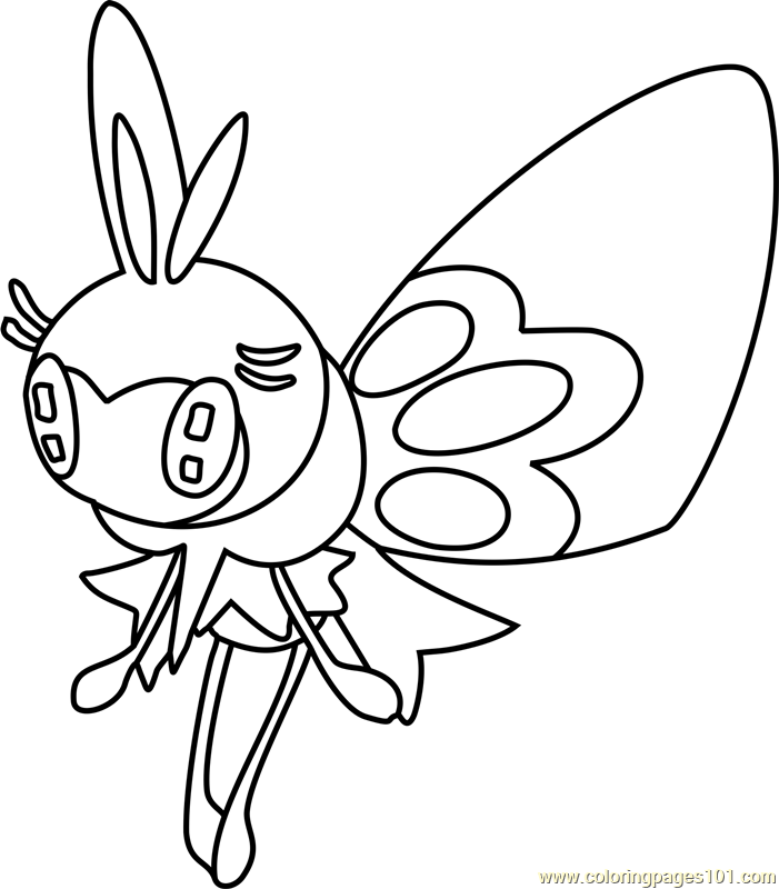 Ribombee Pokemon Sun and Moon Coloring Page Free Pokmon Sun and