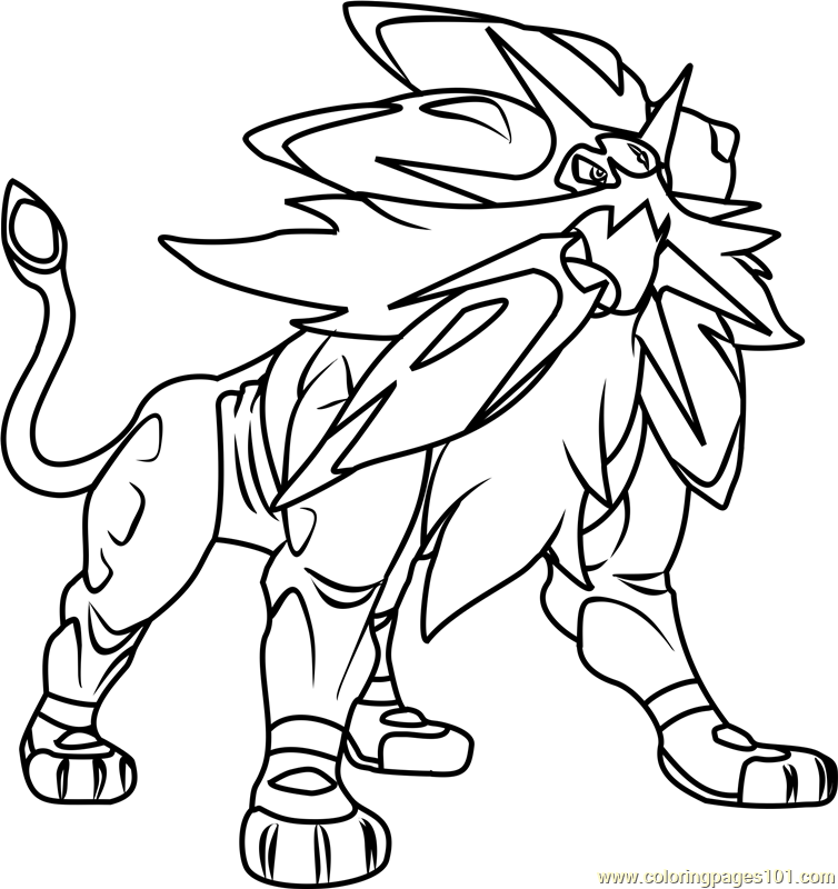 Solgaleo Pokemon Sun and Moon Coloring Page Free Pokmon Sun and
